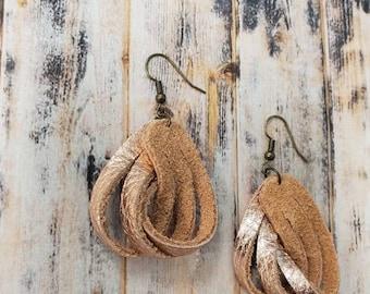 Twisted Leather Loop Earrings
