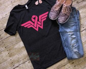 Wonder Woman Breast Cancer Awareness Tee, pink ribbon
