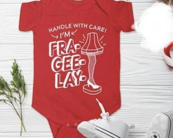 Handle with Care, I'm Fragile baby onsie, funny Christmas onsie