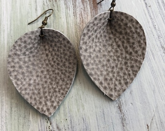 Textured Gray Leather Pinched Teardrop Earrings