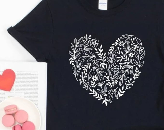 Floral Heart Graphic Tee, ADULT Size, Cute Valentines Day Shirt