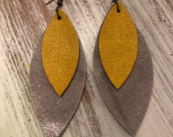 Mustard and Gray Double Layer, Leather Petal Earrings
