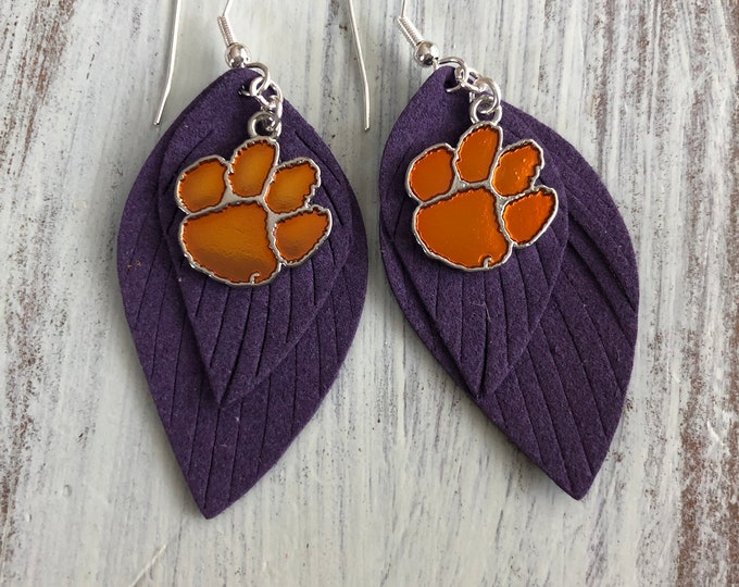 Licensed Clemson Paw Feather Earrings