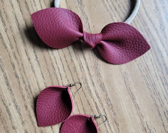 Mommy and Me Genuine Leather Matching Hair Bow and Earrings