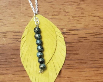 Lime Leather, Fringed Feather Necklace with Teal Marbled Beads