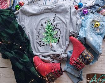 Merry and Bright Christmas Tree, Christmas Shirt