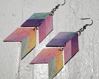 Watercolor Chevron Cork Earrings