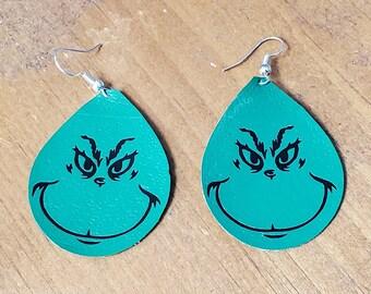 Green Christmas Earrings, Christmas monster, teardrop shape, green leather
