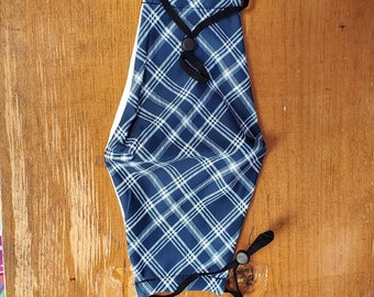 Navy Plaid Facemask. Adjustable, silky feel facemask with cotton lining and filter pocket.