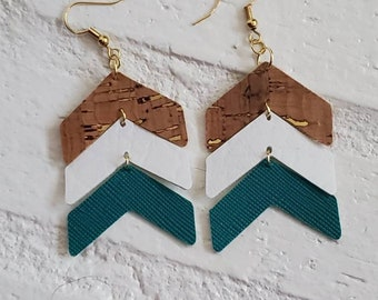 Rustic leather and cork chevron earrings with gold accents
