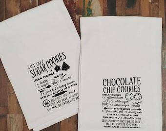 Cookie Recipe Towel Set, Chocolate Chip and Sugar Cookie