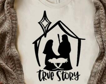 True Story, Nativity Scene Tee, Adult Sizes