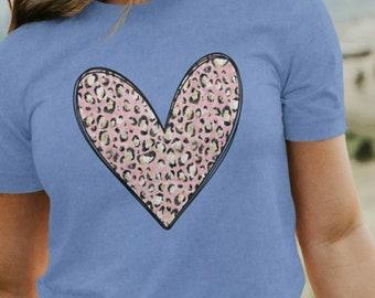 Children's Pink Leopard Heart Graphic Tee