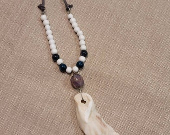 Natural Wood and Stone Oyster Beaded Necklace
