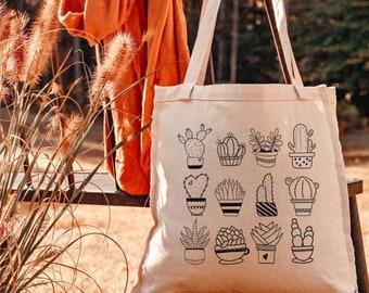 Succulents Reusable Canvas Tote Bag