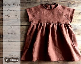 Girls Dress Sewing Pattern in 12m-10y, With Step-by-Step Tutorial for digital download, raglan sleeves
