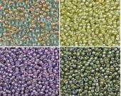 Miyuki 11 0 Round Beads (10g) 0351, 0359, 0360, 0361 - Lined AB Aqua Topaz, Lavender Amethyst, Chartreuse Olive Peach Aqua Luster