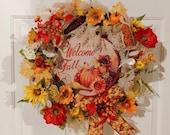 Fall Wreath, Autumn Wreath, Harvest Wreath, Corn Wreath, Fall Floral Wreath, Pumpkin Wreath, Fall Bottle Cap Sign, Wheat Wreath