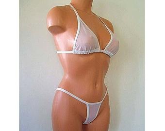 white spandex sheer micro mesh banded thong bikini lingerie sunwear set