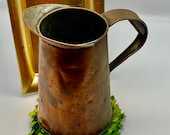 Copper Pitcher - Copper over Metal - Vintage Pitcher - Vase - FABULOUS Farm House Decor