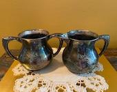 Sugar and Creamer - Vintage Silver Plate Sugar Bowl and Creamer - Engraved Silver Plate