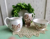 Brown Transfer Ware - Vintage English Transfer Ware - Group of 3 Ironstone
