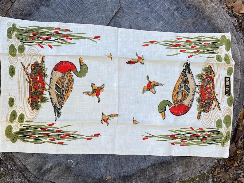 Retro Kitchen Man Cave Duck Decor Bar Cart Vintage Linen Tea Towel Linen Towel
