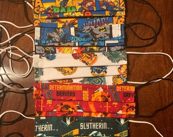 Cotton Face Masks, Licensed/Themed Fabrics, One Size Fits Most