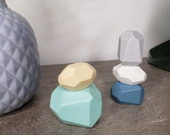 5 pc blue/grey wooden balancing stones