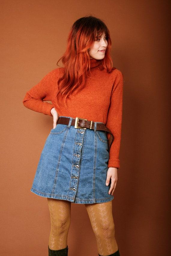 1970s button up denim skirt - image 3