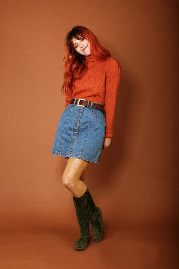 1970s button up denim skirt - image 5