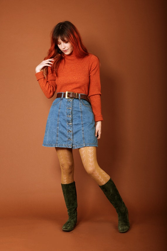 1970s button up denim skirt - image 4