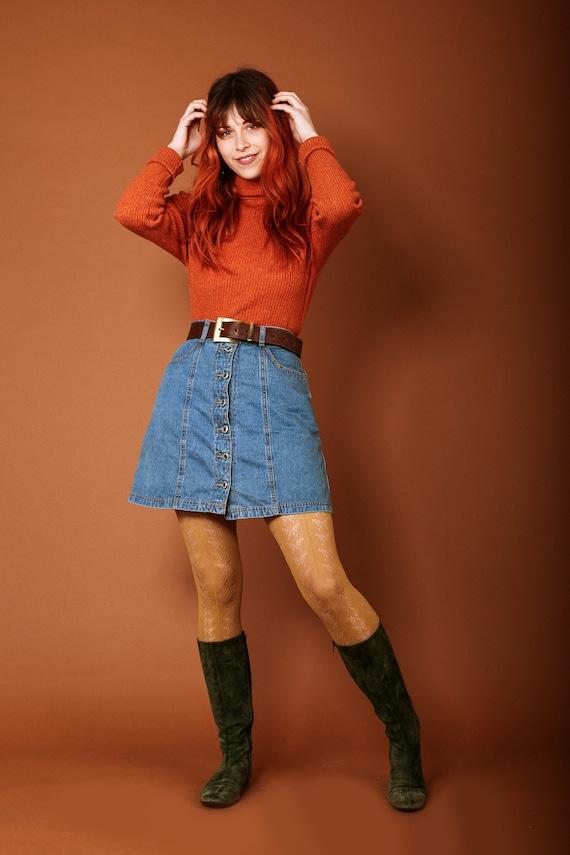 1970s button up denim skirt - image 2