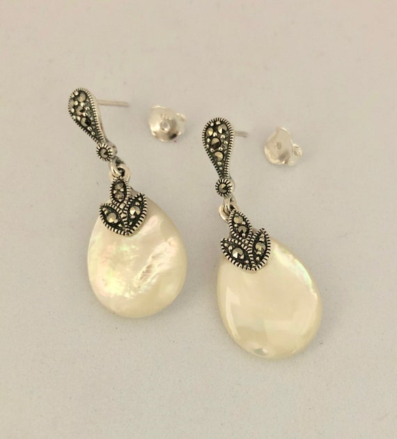 Earrings, 925 Sterling Silver, Marcasite & Mother