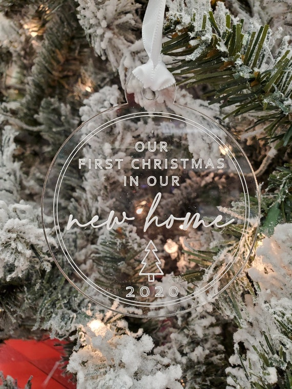 New Home 2020 Ornament Housewarming 1st Christmas in Our New House Rustic Farmhouse Ceramic Collectible Homeowner Present Real Estate Agent 3 Flat Circle Porcelain