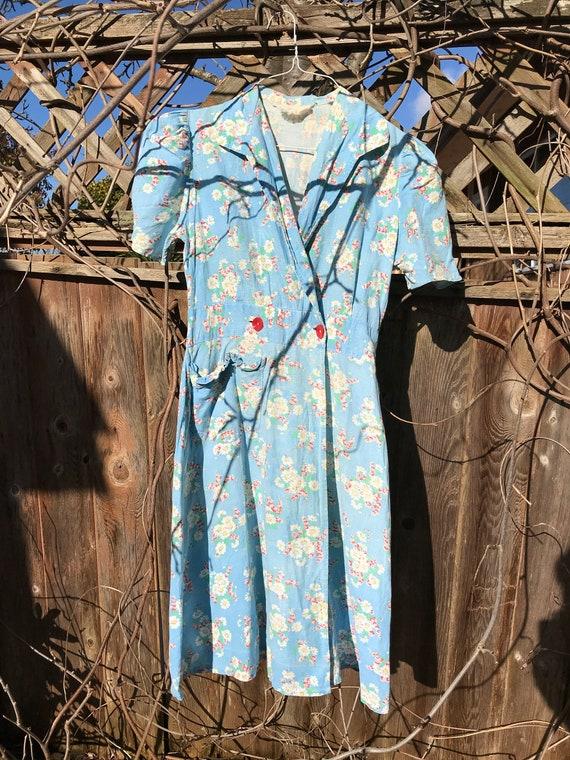 Vintage 1930s/40s Feedsack Blue Floral Day Dress,