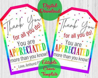Thank You Gift Tags, Teacher Employee BusDriver Nurse Staff Appreciation Week, thank you for all you do , School pto pta Editable Template