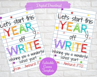 Let's start this year off write, Back to school Pen Marker gift tags for teachers, students, First Day of school Editable digital download