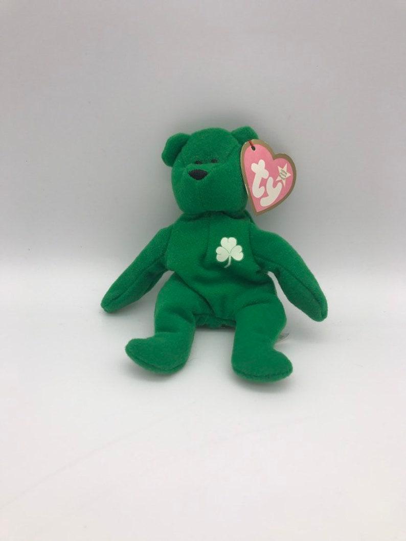 Macdonalds Ty Teenie Beenie Babies soft toy 1993 Erin The Bear Irish Emrald Green