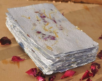 Handmade recycled paper by Beasties /& Botanicals 10 A6 sheets in White with delphinium petals