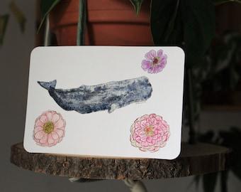 Individuell gestaltete Postkarten auf Aquarell-Postkartenpapier, Pflanzen-, Blumen-, Tier-Motive; Personalisierbar, Geschenkidee