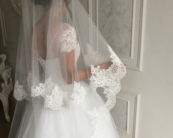 "105/"" Spanish Lace Cathedral 9/' Long WHITE 1T 1 Layer Mantilla Wedding Veil Tier"