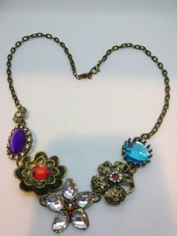 Vintage Colorful Floral Motif Statement Necklace