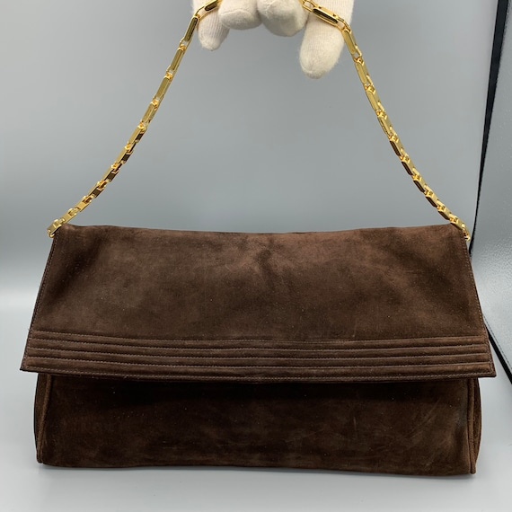 Chocolate brown suede evening bag