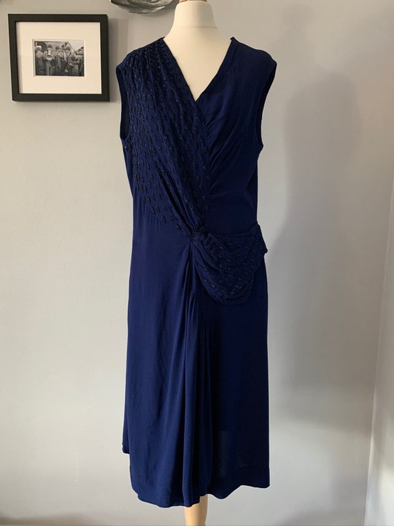 1940 royal blue beaded cocktail dress