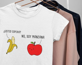 Usted Es-pera  Cute Spanish Shirt , Camiseta Espanol, Play on Words Cartoon in Spanish , Funny Puns Unisex T Shirt