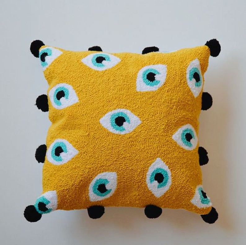 textured cushion,pillow gift Evil/'s eye punch needle pillow,decorative throw pillow,boho pillow arrival in 1-3 days with DHL
