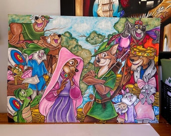 Disney inspired Robin hood print poster wall art gift merchandise watercolour
