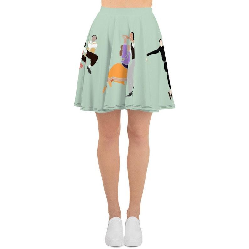 Swing Dance Shoes- Vintage, Lindy Hop, Tap, Ballroom Swing Dance Skirt | Lindy Hop Dancers Colorful Illustration Skater Skirt $146.00 AT vintagedancer.com