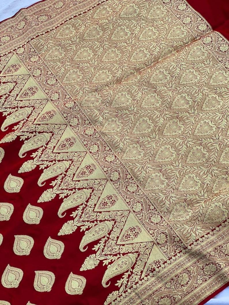 Red Banarasi Satin Silk Saree with Rich Antique Zari Design Pure Handloom Bridal Benarasi Satin Silk Sari